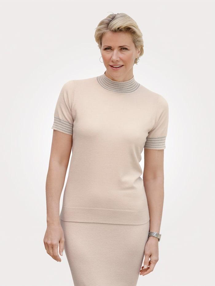 MONA Pullover mit glänzenden Ringeln, Kitt/Silberfarben