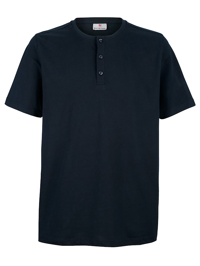 Boston Park T-shirt met knoopsluiting, Marine
