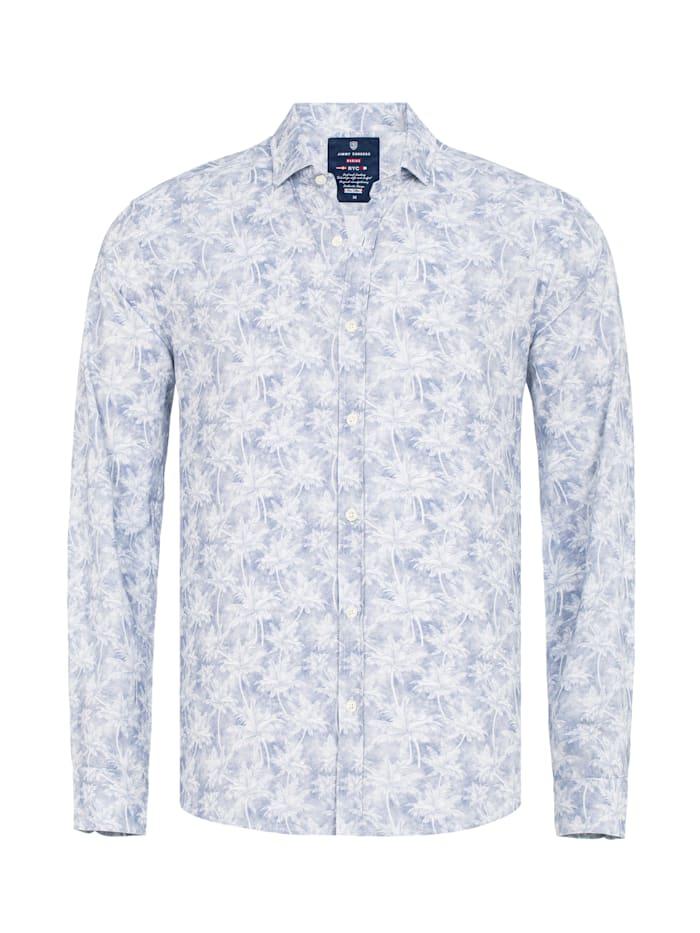 Jimmy Sanders Hemd Lanz mit exotischem Allover-Muster, white