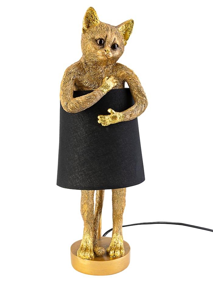 AM Design Tischleuchte, Katze, goldfarben/schwarz