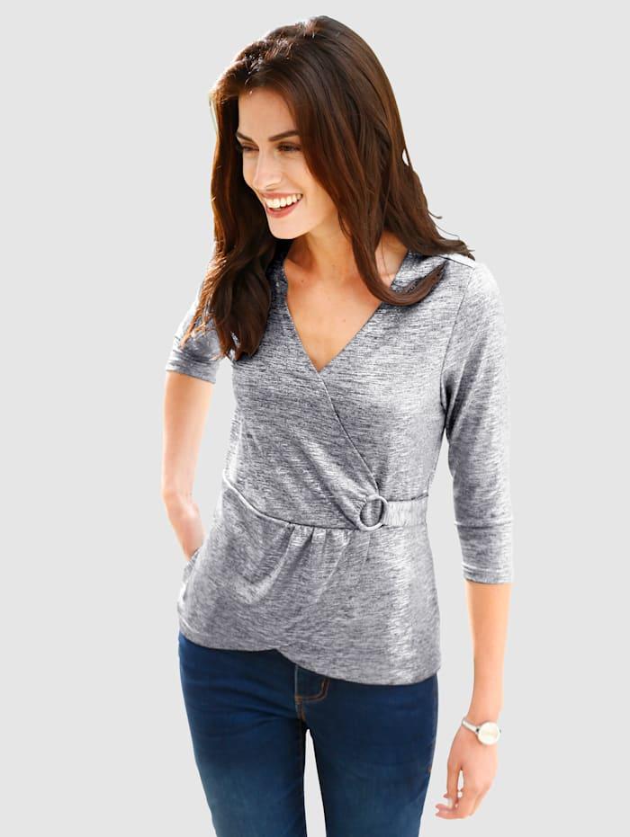 Shirt in wikkellook, Zilverkleur