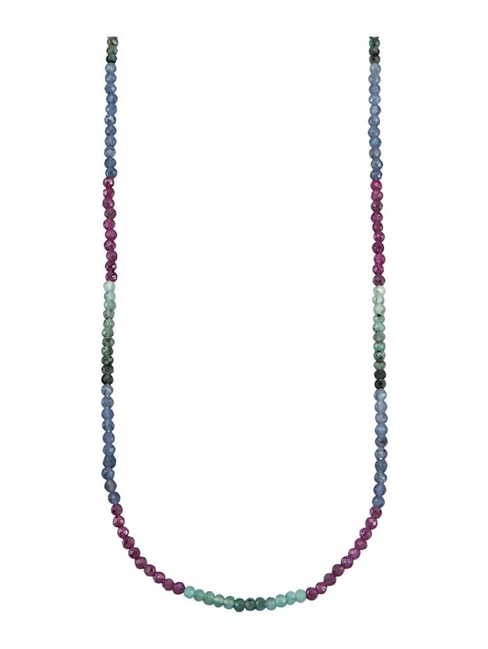 Diemer Farbstein Halskette mit Rubinen, Saphiren und Smaragden, Multicolor