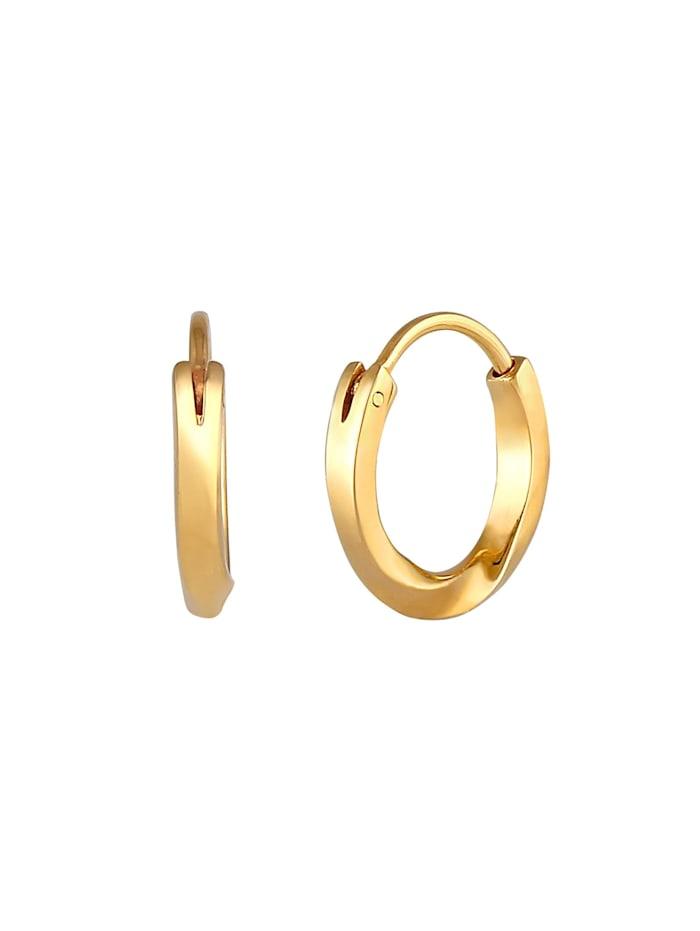 Ohrringe Creolen Ohrhänger Basic Rund 375 Gelbgold