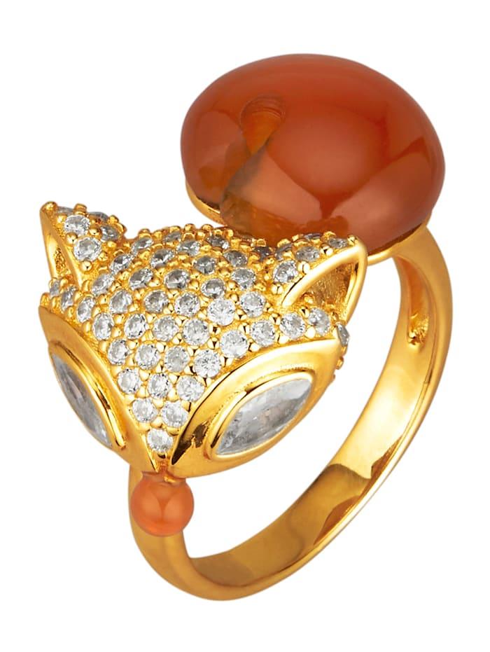 Fuchs-Ring mit roten Achaten, Rot