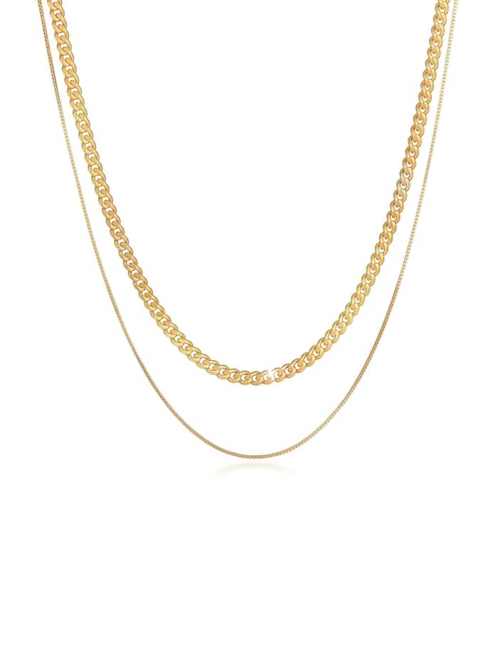 Kuzzoi Halskette Herren Ketten Set Panzer Venezia 925 Silber, Gold