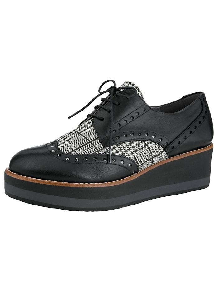 Sneaker met klassiek en modern dessin, Zwart