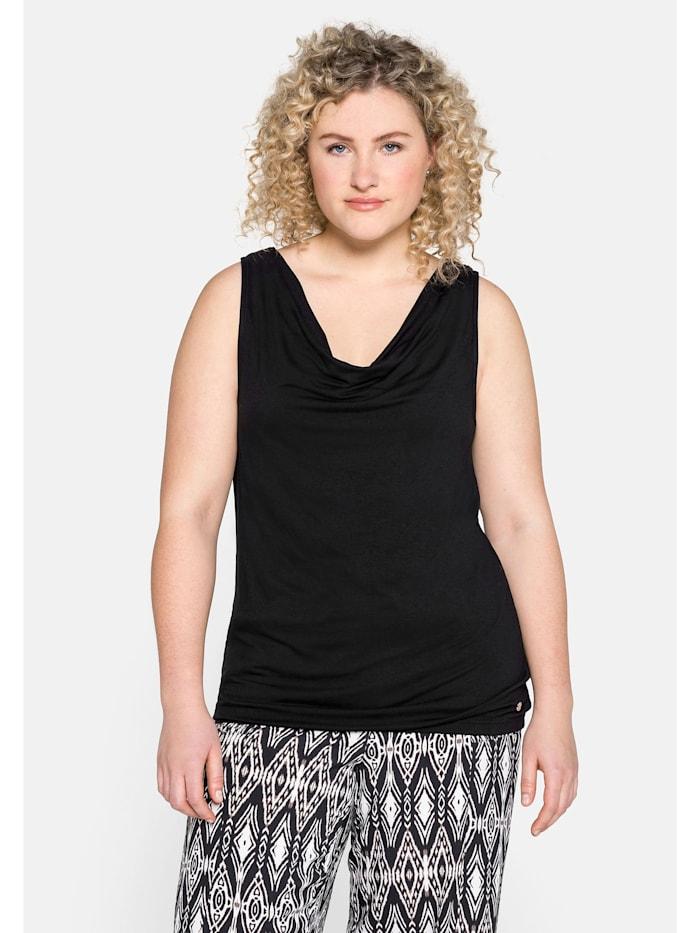 Sheego Strandtop mit elastischem Saum, schwarz