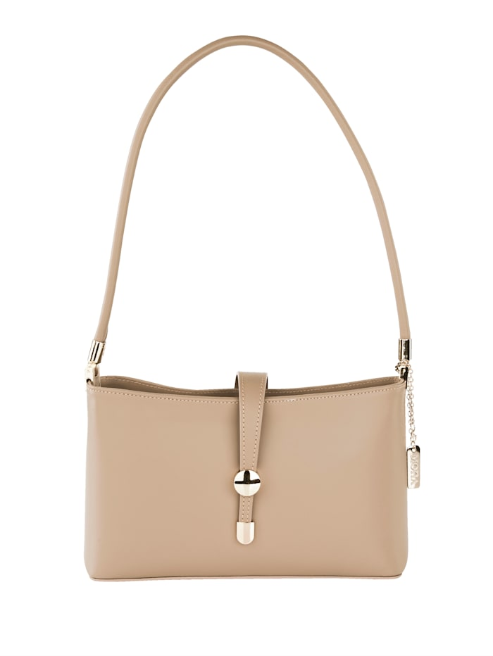MONA Handbag made from supple leather, Taupe