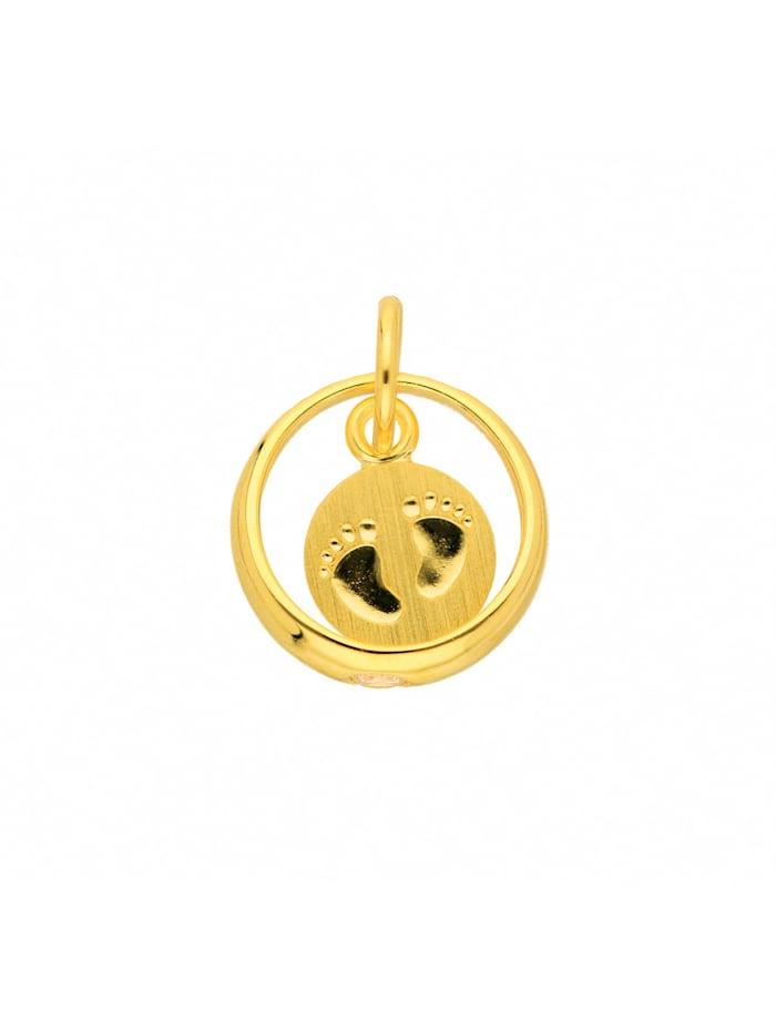 1001 Diamonds Damen Goldschmuck 333 Gold Anhänger Babyfüsse mit Zirkonia Ø 10,3 mm, gold