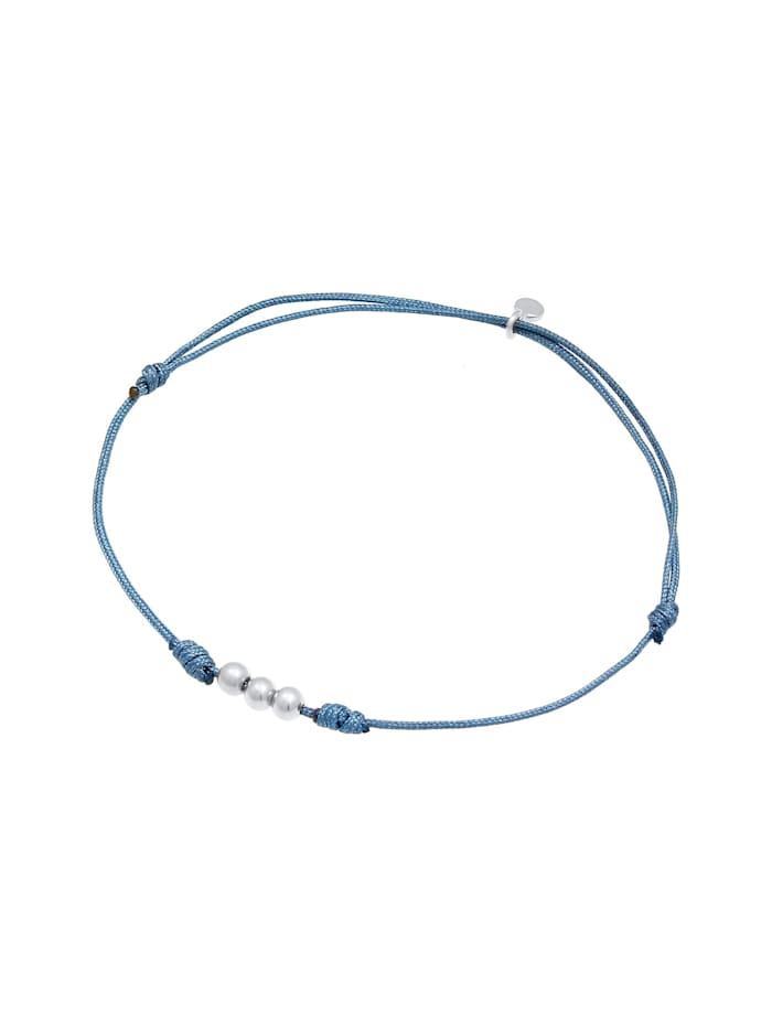 Armband Nylon Textil Kugeln Bead 925 Silber