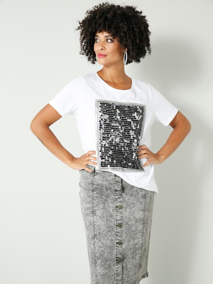 Angel of Style Shirt mit Pailletten und Glitzerdruck, Weiß/Silbergrau