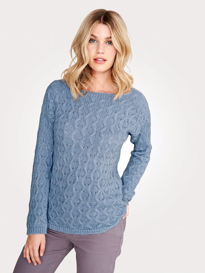 Artigiano Jumper in an on-trend cable knit, Light Blue