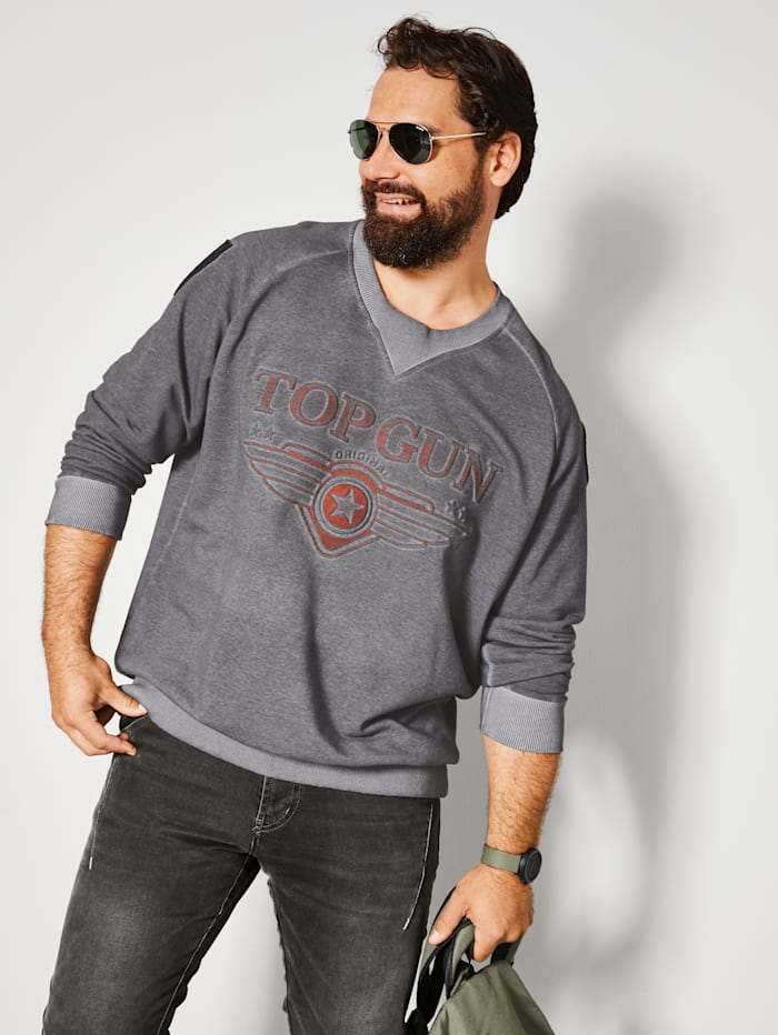 Top Gun Sweatshirt mit Logo-Prägung, Grau