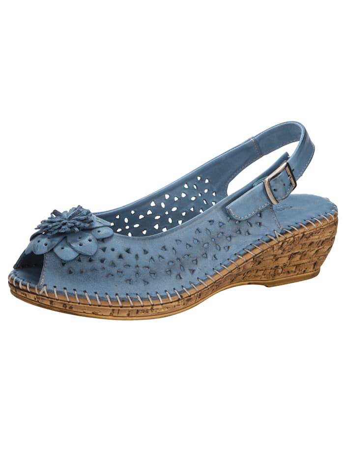 Gemini Wedge sandals with floral appliqué, Blue