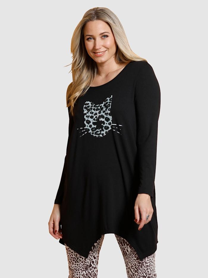"""MIAMODA T-shirt à pans à motif """"chat"""", Noir"""