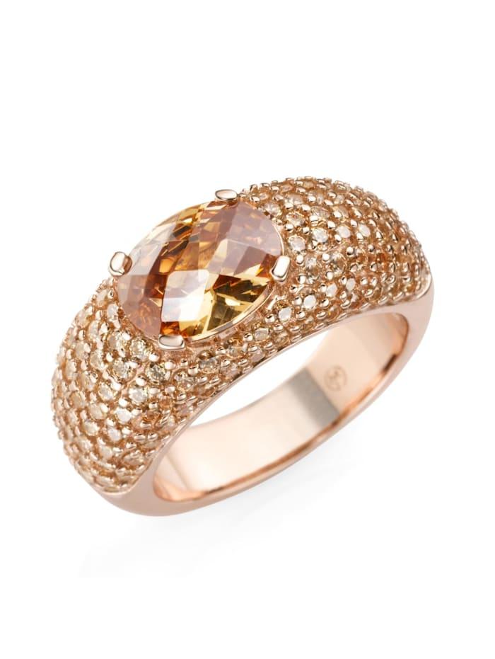 Giorgio Martello Ring Rosé vergoldet mit Zirkonia, Rosé vergoldet