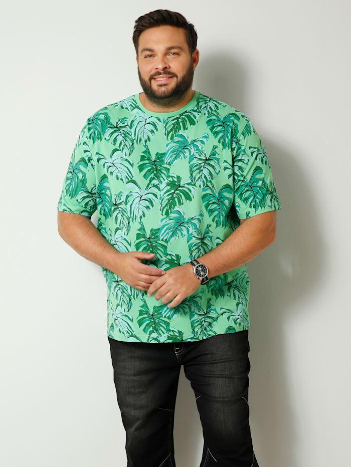 Men Plus T-Shirt aus reiner Baumwolle, Mintgrün