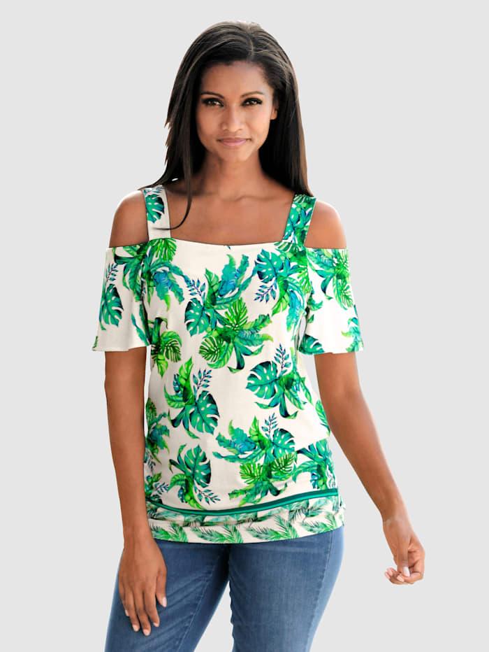 Alba Moda Strandshirt in offshoulder style, Wit/Groen