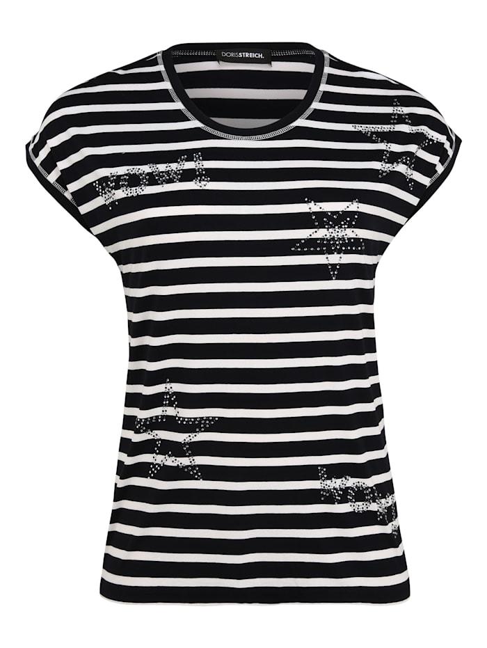 Doris Streich Shirt mit Allover-Muster Glitzereffekt, marine