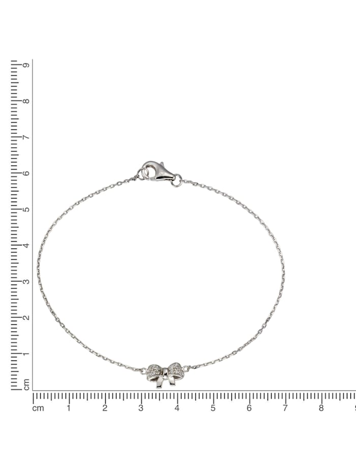 Armband 925/- Sterling Silber Zirkonia 19cm Glänzend 0,17ct
