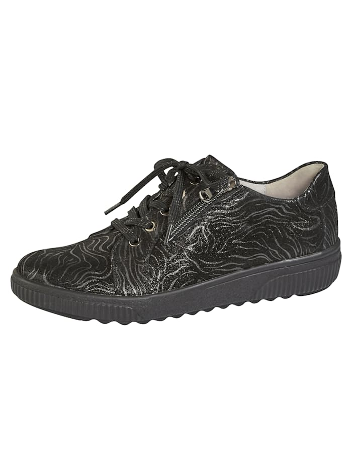 Waldläufer Lace-up shoes with air cushioned soles, Black
