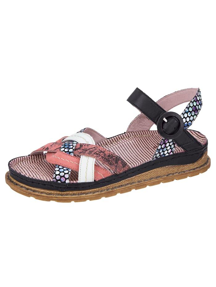 MACIEJKA Sandale in ausdrucksvollem Ledermix, Schwarz/Koralle/Multicolor
