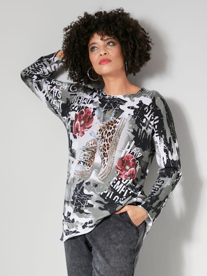 Angel of Style Pullover in weicher Feinstrickqualität, Grau/Schwarz/Weiß