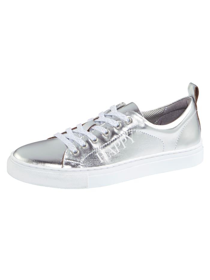 Filipe Shoes Plateausneaker mit modischem HAPPY-Schriftzug, Silberfarben