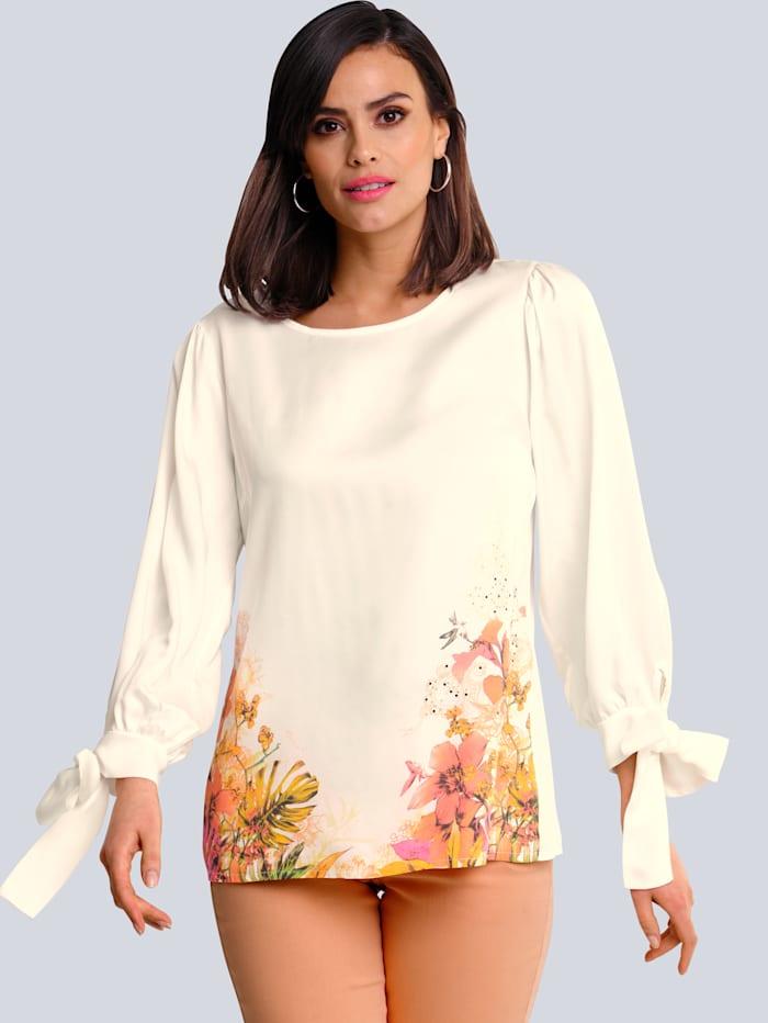 Alba Moda Bluse mit platziertem Blumenprint am Saum, Off-white/Multicolor