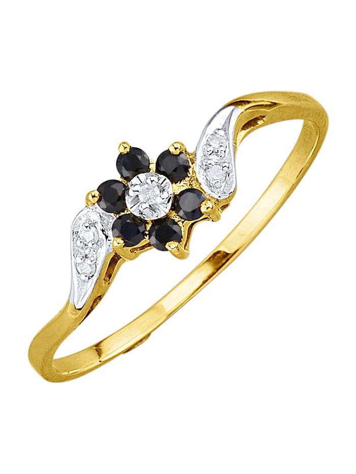 Damenring mit Saphiren und Diamanten, Schwarz