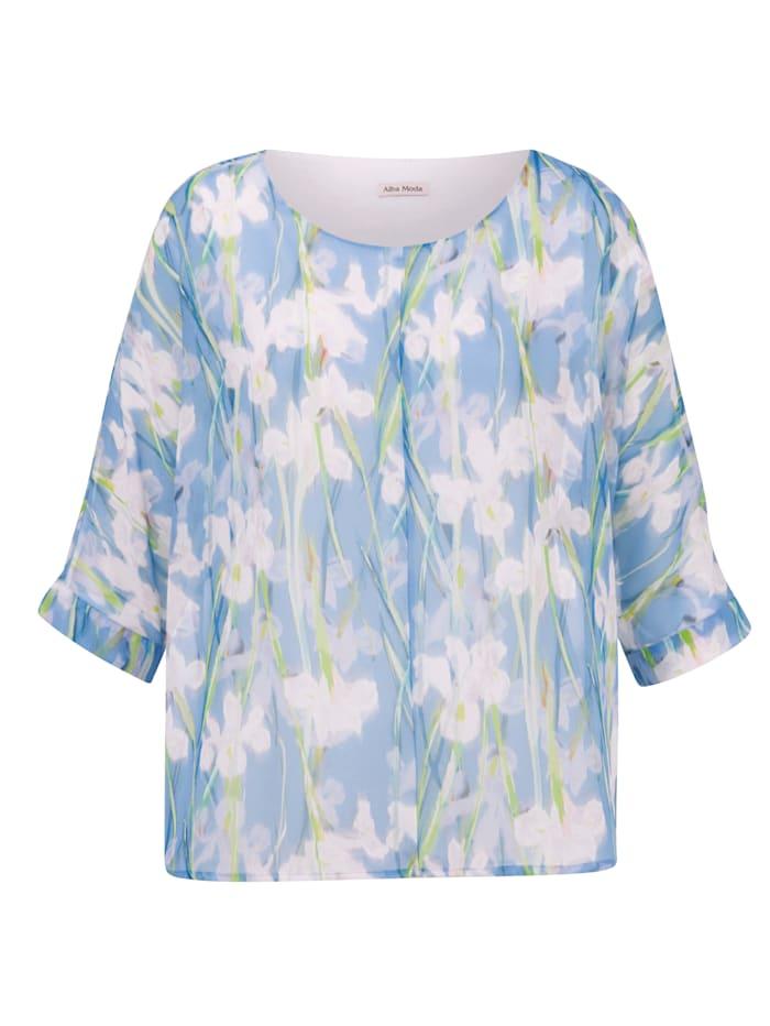 Bluse mit farbharmonischem Blumendruck allover