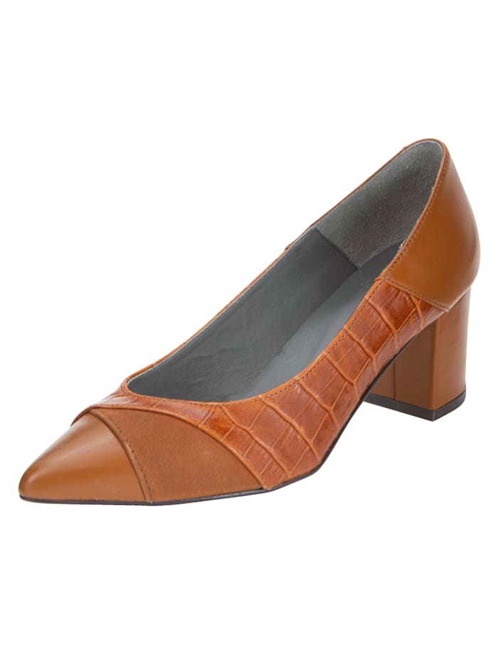 KLiNGEL Pumps in modischem Kroko-Look, Cognac