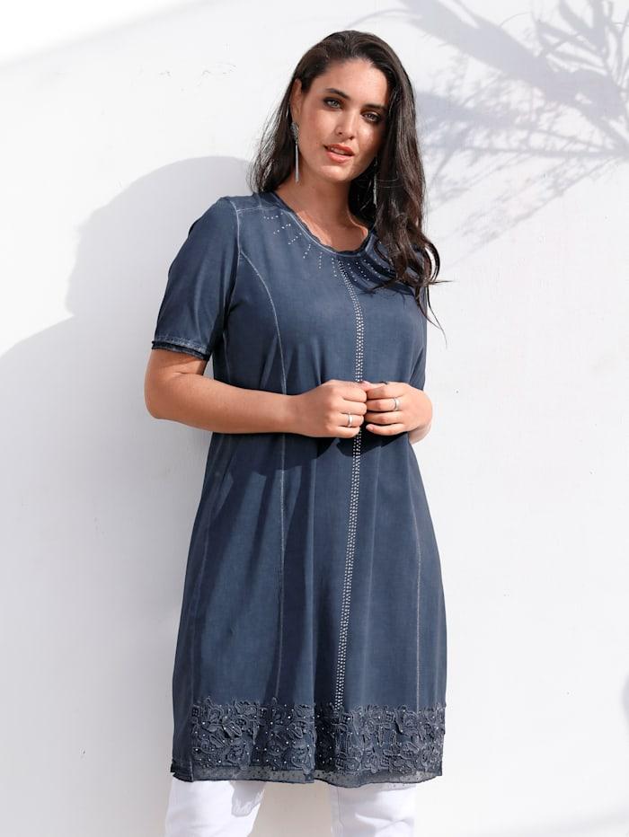 MIAMODA Jurk met vrouwelijk kant langs de zoom, Jeansblauw