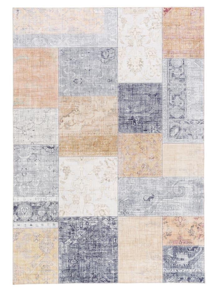 Pergamon Luxus Vintage Designer Teppich Primus Patchwork, Grau Beige