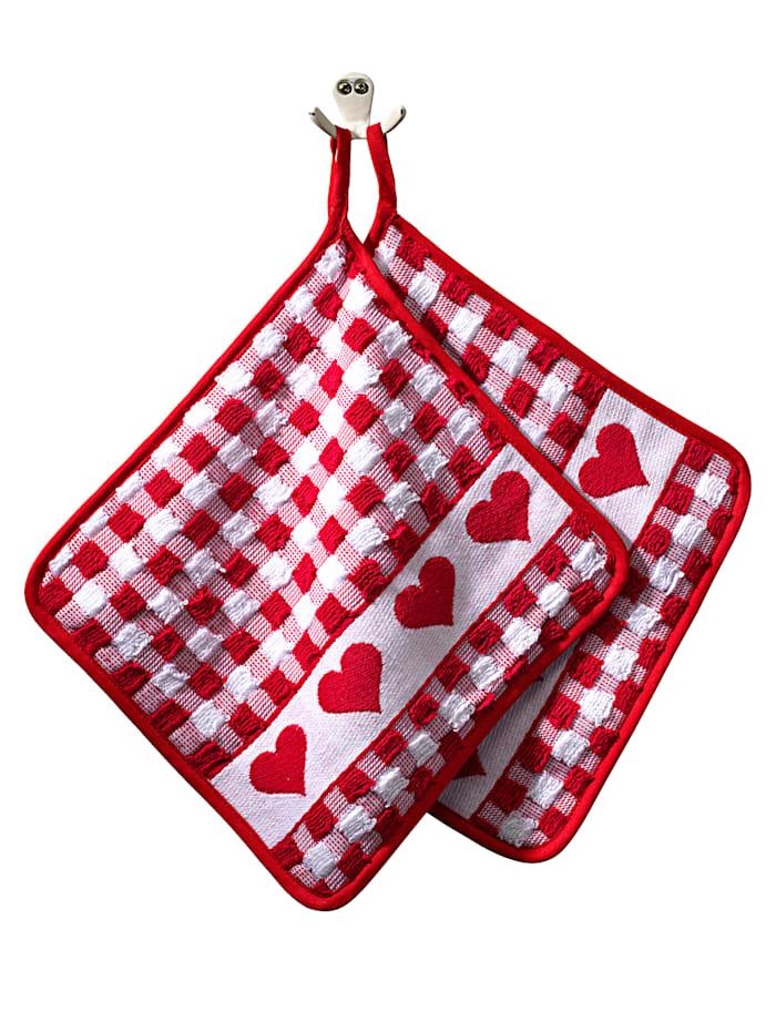 Kracht Lot de 2 maniques 'cœur' en éponge, Rouge