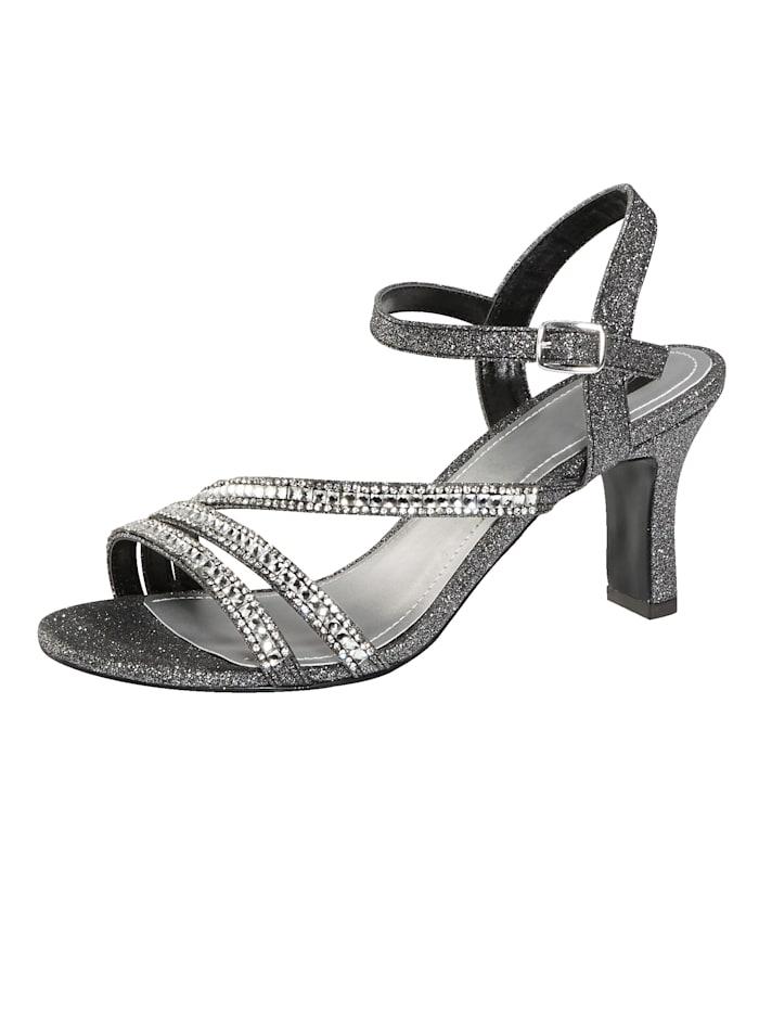 Liva Loop Sandaaltje met elegante steentjesversiering, Antraciet