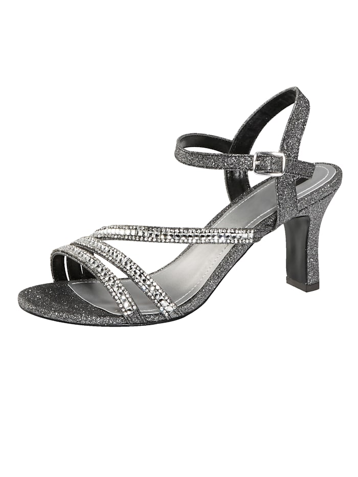 Liva Loop Sandaletter i glittrande utförande, Antracitgrå