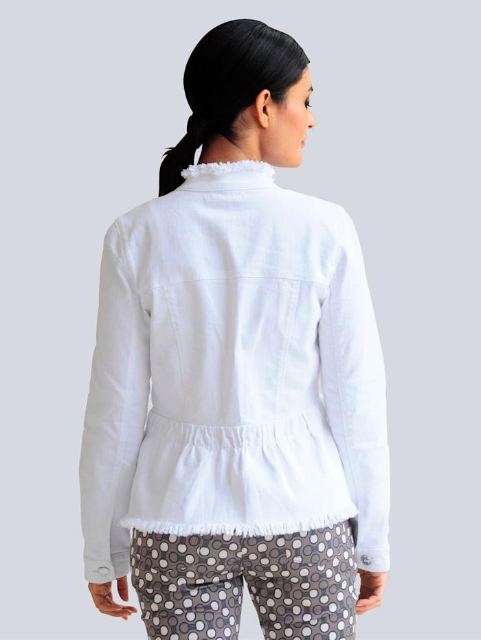 Veste en jean avec bords à finition frangée