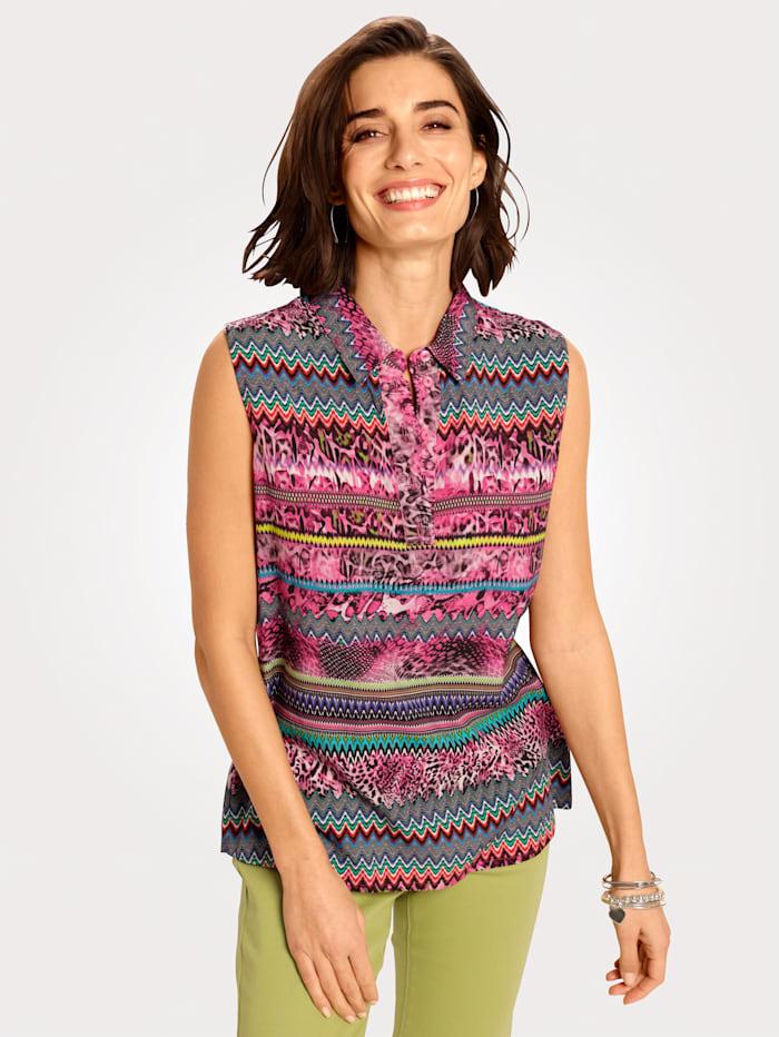 MONA Blouse met printmix, Pink/Blauw/Groen/Wit