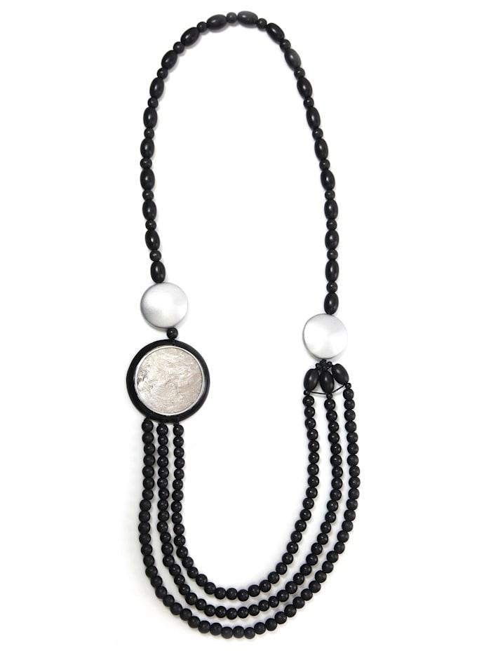 Collezione Alessandro Lange Kette Ilona mit zwei silberfarbigen Holzelementen, schwarz