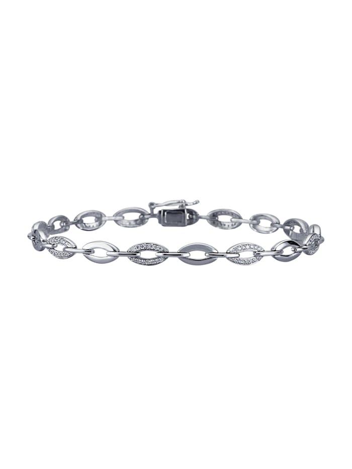 Diemer Platin Bracelet avec brillants purs à la loupe, Coloris argent