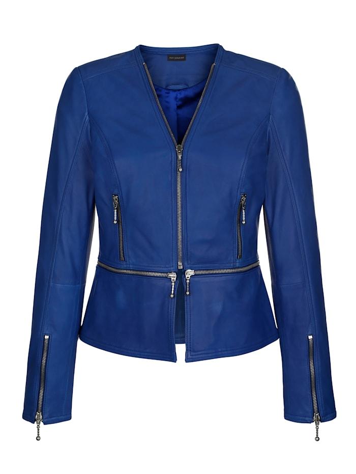 AMY VERMONT Lederjacke mit abnehmbarem Schößchen, Royalblau