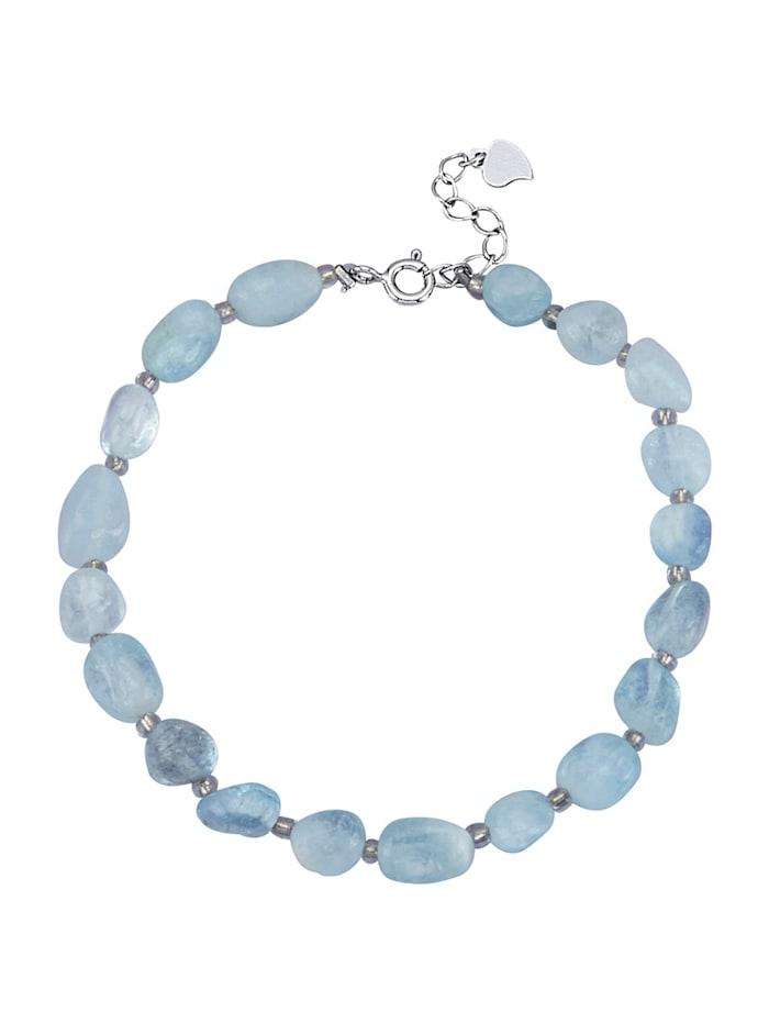 Bracelet avec aigues-marine, Bleu