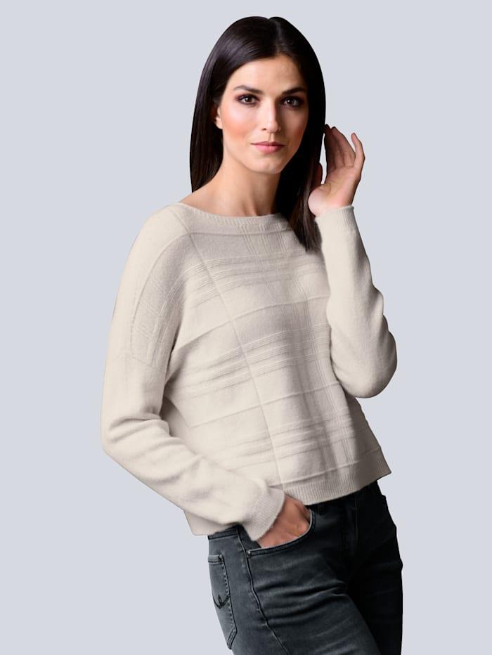Alba Moda Pullover in schönem Strukturstrick, Creme-Weiß