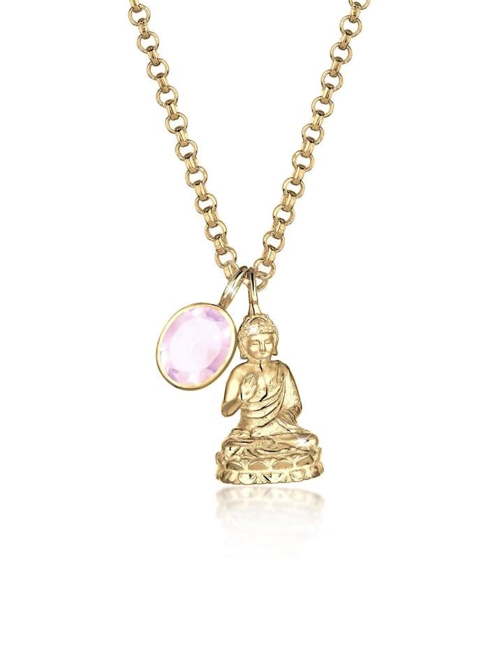 Elli Premium Halskette Buddha Rosenquarz Edelstein 925 Sterling Silber, Rosa