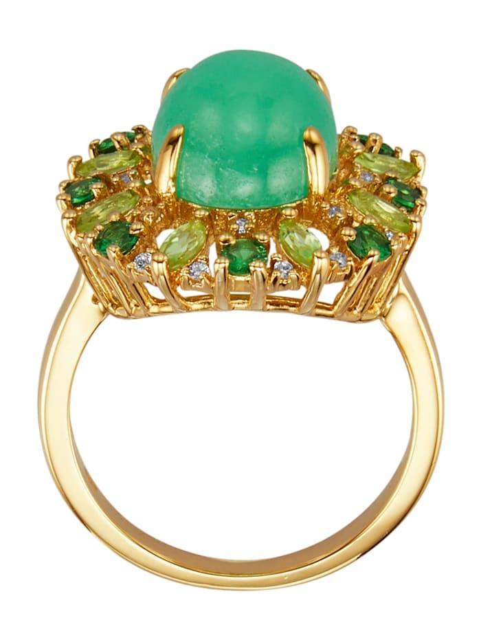 Ring med jade, peridot, tsavorit och cubic zirconia