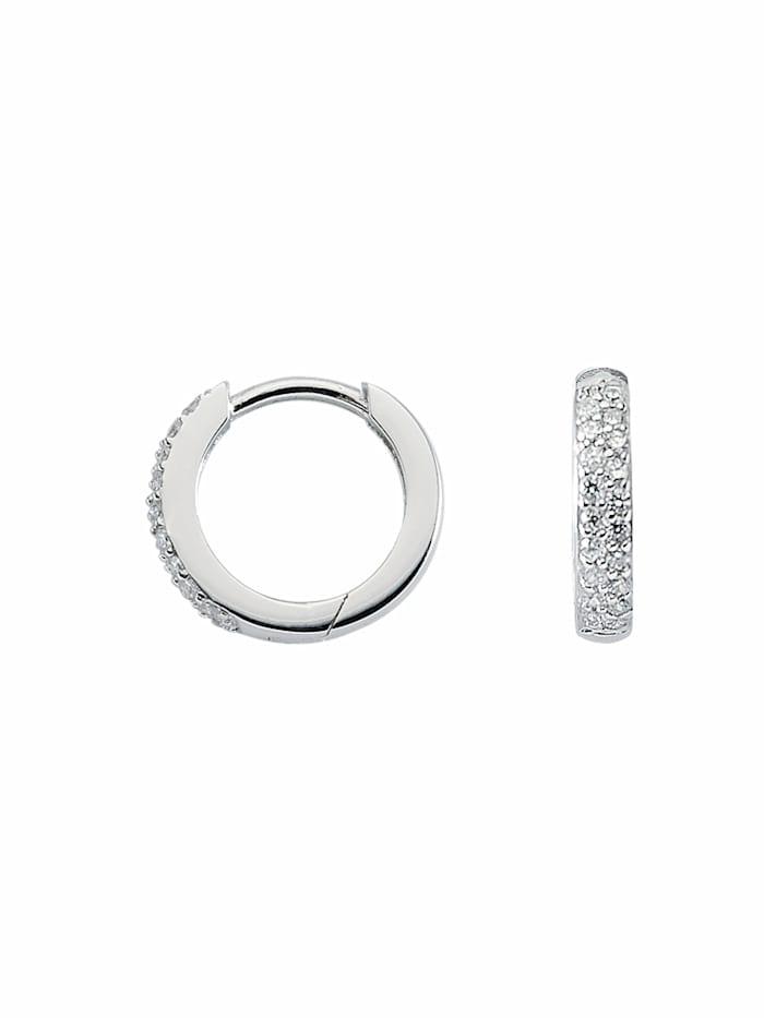 1001 Diamonds 1001 Diamonds Damen Silberschmuck 925 Silber Ohrringe / Creolen mit Zirkonia Ø 13,1 mm, silber