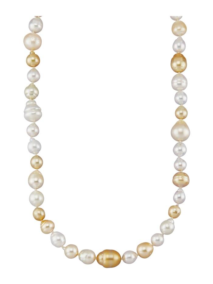 Amara Perles Collier de perles de culture des mers du Sud en or jaune 585, Multicolore