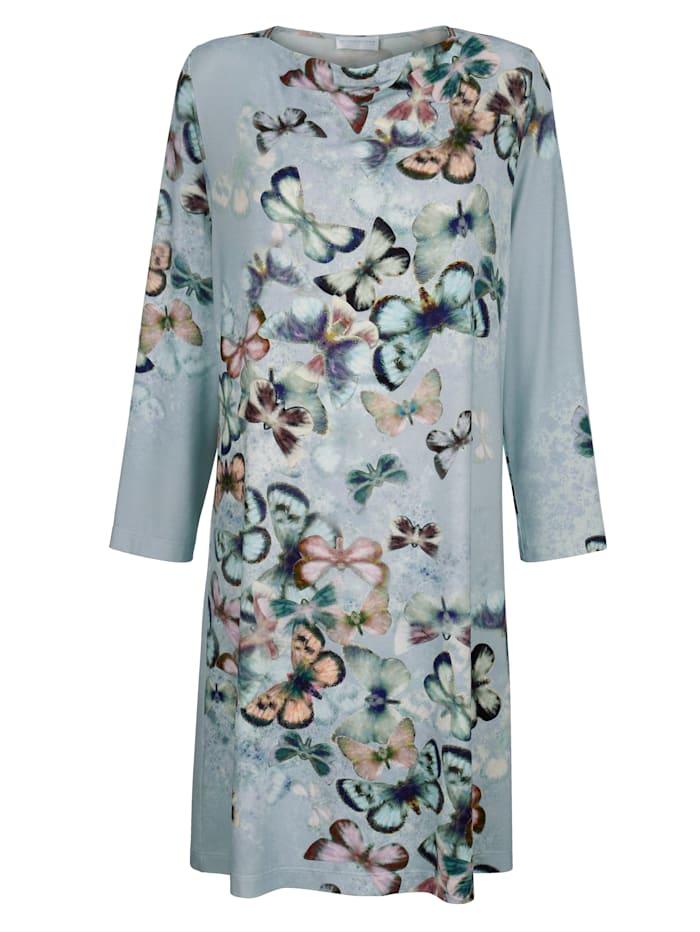 MONA Nachthemd mit dekorativen Lurex Bändern, Eisblau/Altrosa/Petrol