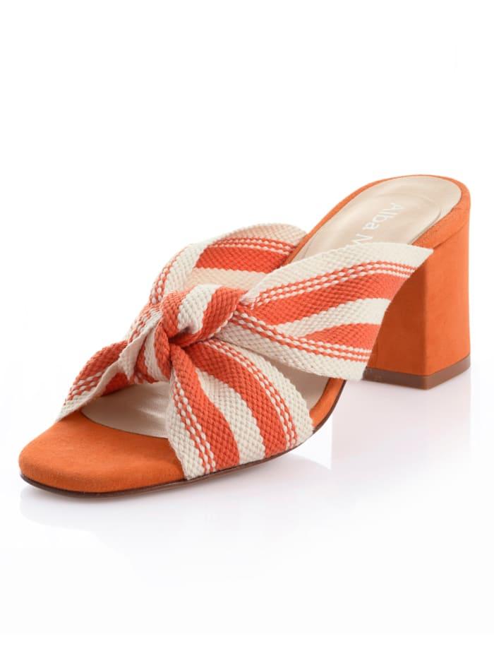 Alba Moda Pantolette in Streifenoptik, Orange/Creme-Weiß
